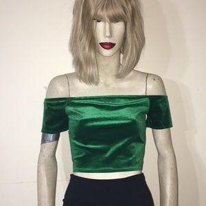 Vintage Emerald Green Velvet Crop Top